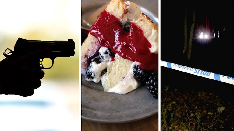 En hand som håller en pistol, en tårtbit på en tallrik och polisens avspärrningsband.