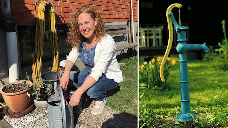 Linda Westeson står på huk vid en vattenkanna och några blomplanteringar. En bild på en vattenpump till höger.
