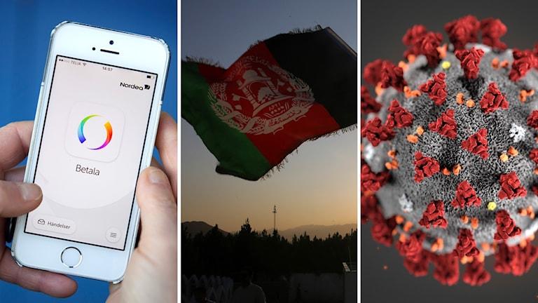 Mobiltelefon i händer med Swish-appen igång, Afghanistans flagga vajar i vinden och bild från mikroskåp på coronaviruset.