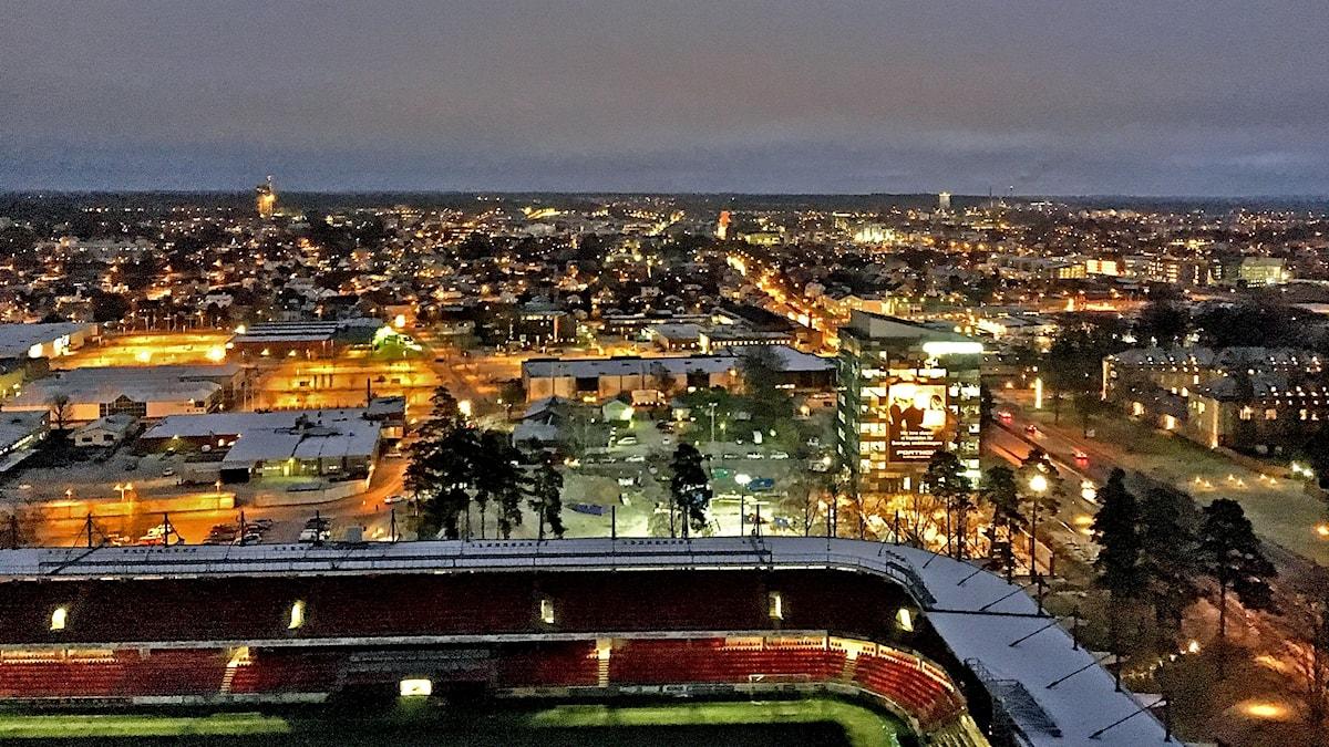 Utsikt från det nya höghuset Icon i Växjö