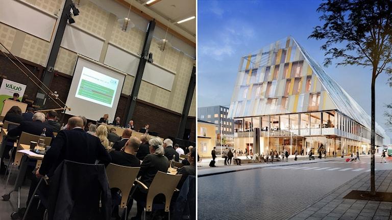 Kommunfullmäktige i Växjö till vänster, till höger det planerade stadshuset