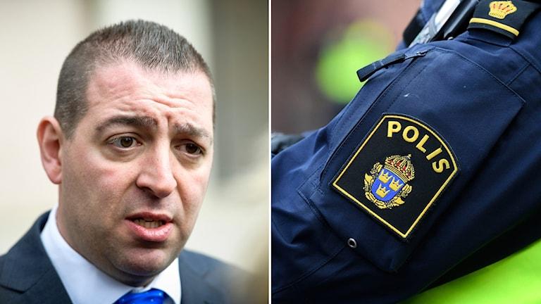 Till vänster Roger Haddad som blir intervjuad, till höger polismyndighetens logotyp.
