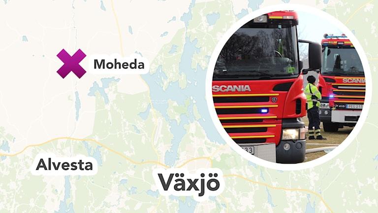 Karta och brandbil.