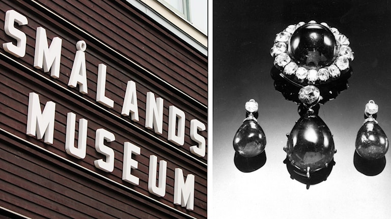 Bildcollage. Smålands museum och Christina Nilssons juveler.