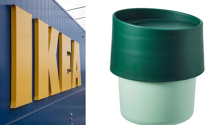 Bildmontage: bild 1. Ikea-skylt, bild 2. Resemuggen Troligtvis