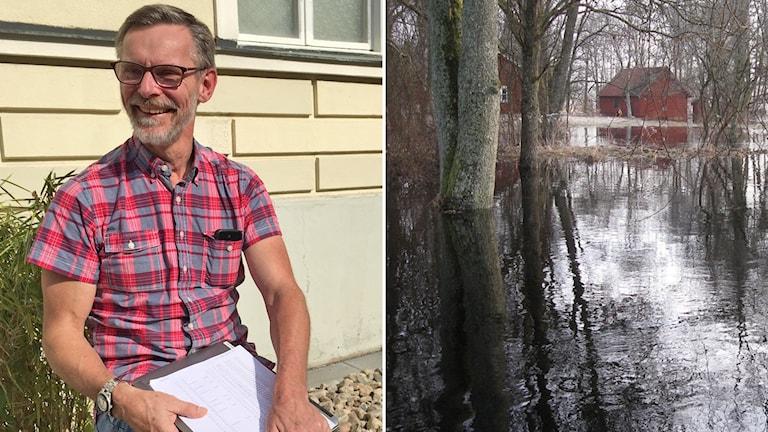 Gunnar Karlsson till vänster, till höger en bild på en översvämning
