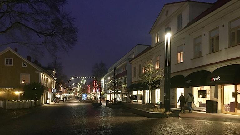 Växjö centrum på kvällen.
