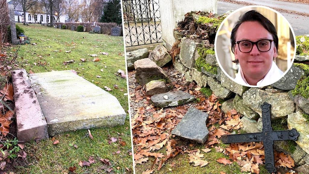 Montage med bilder på skadegörelse från kyrkogård.