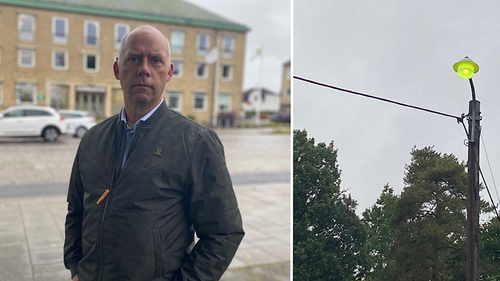 Anders Nyberg teknisk chef på Älmhults kommun och en gatlykta.
