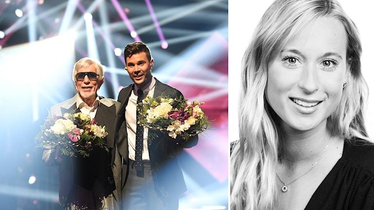 Till vänster en bild på Owe Thörnqvist och Robin Bengtsson från Melodifestivalen 2017, till höger reporter Rebecka Svensson