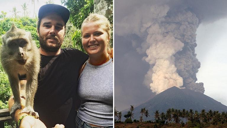 Till vänster Amanda Sjökvist tillsammans med sin pojkvän, till höger vulkanutbrott på Bali.