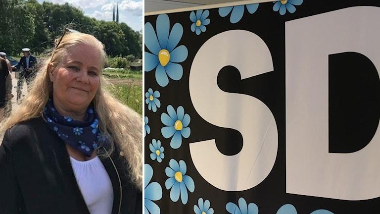 Pernilla Wikelund och skylt på SD:s blåssipor-logga.