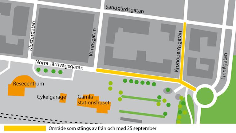 Avstängningar vid Norra Järnvägsgatan.