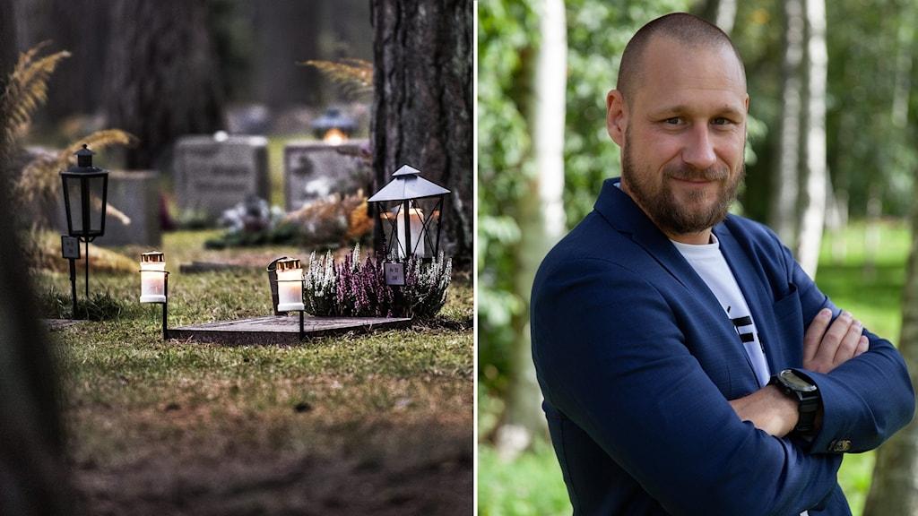 En delad bild där vänster halva visar en kyrkogård med gravstenar och höger halva visar en man med armarna i kors.