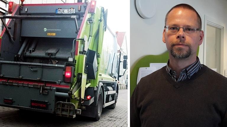 Sopbil och Henrik Östman, tillförordnad renhållningschef i Växjö kommun