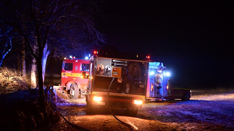 Brand i ett garage i Torp strax utanför Nöbbele
