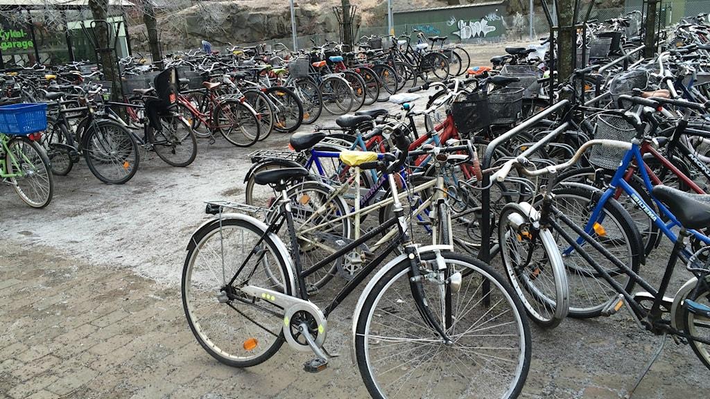 Cyklar vid stationen i Växjö