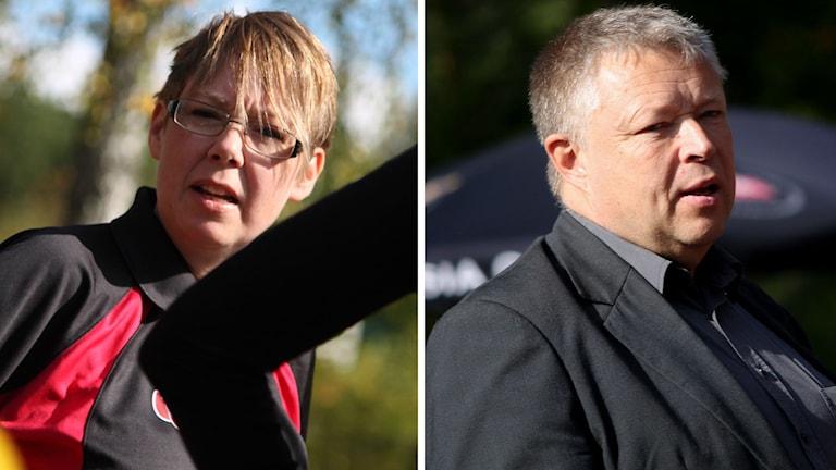 Till vänster ett porträtt på Camilla Ymer, till höger ett porträtt på Åke Carlson