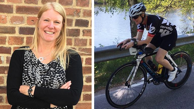 Kollage. Till vänster kvinna i axellångt blont hår och svart kofta står framför en tegelvägg. Hon ler och tittar in i kameran med armarna i kors. Till höger kvinna på cykel med cykelhjälm och cykelkläder.