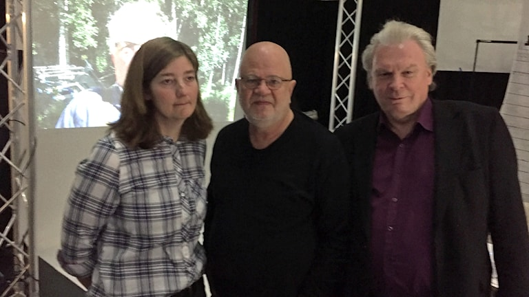 Therese Karlsson, producenten Rolf Lideberg och Börje Rehn.