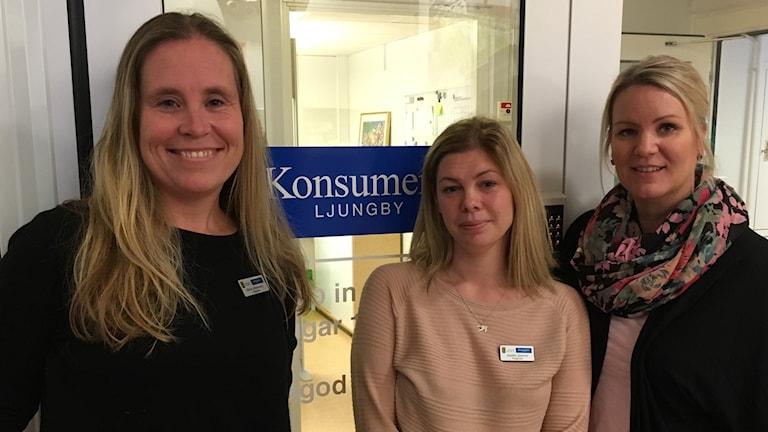Maria Johansson, Josefin Granrot och  Jessika Nilsson på Konsument Ljungby