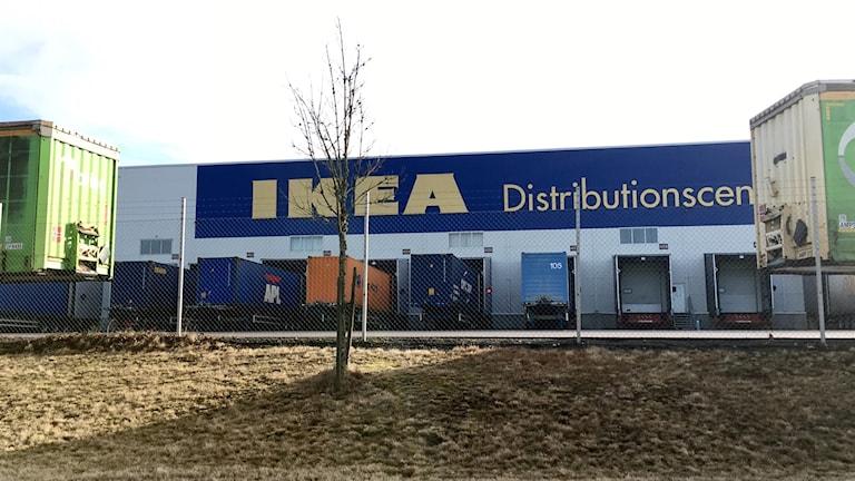 IKEA distribution Älmhult. På bilden syns Ikeas logga och flera lastbilar.