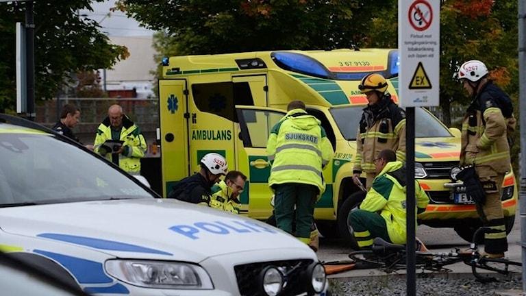 Räddningstjänsten på plats vid olyckan i Vislanda.