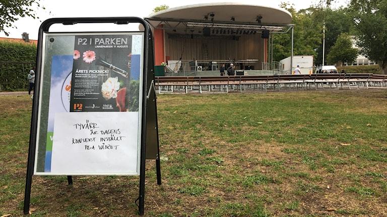 P2 i Parken inställt.