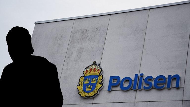 Montage av en silhuettbild av en man mot en polisfasad.