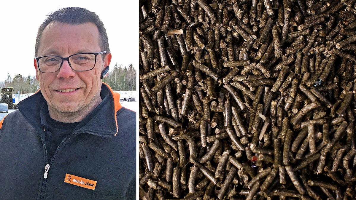 Stefan Sjö till vänster, en hög med pellets till höger