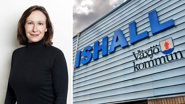 Till vänster en porträttbild på Maria Jarl, till höger fasaden på Växjö ishall