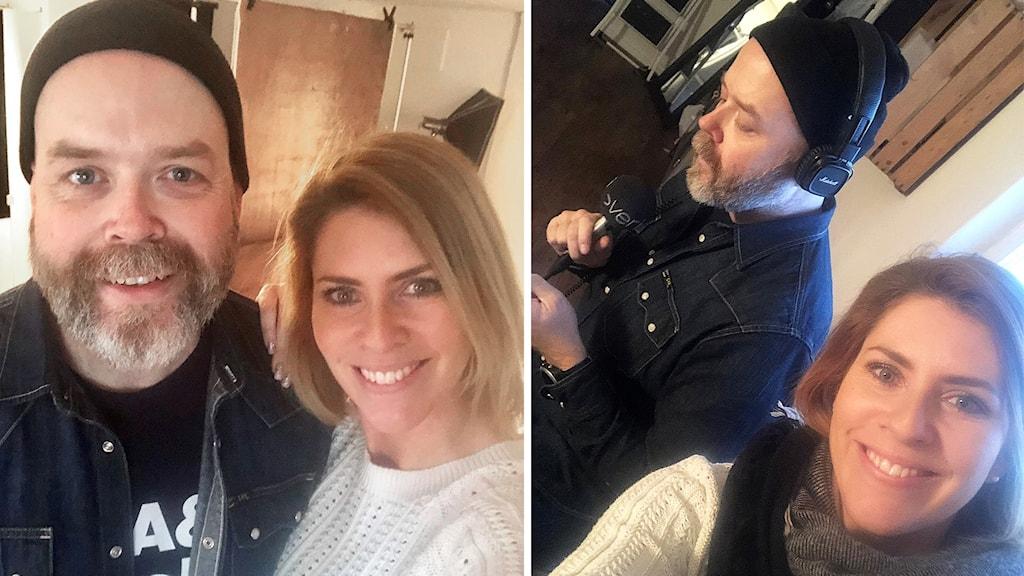 två personer i en selfie