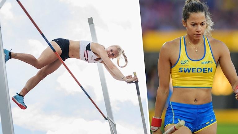 En person hoppar stavhopp och en person bär en stav.