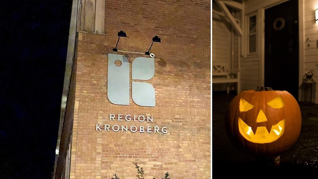 Fasaden på centrallasarettet i Växjö och en halloweenpumpa