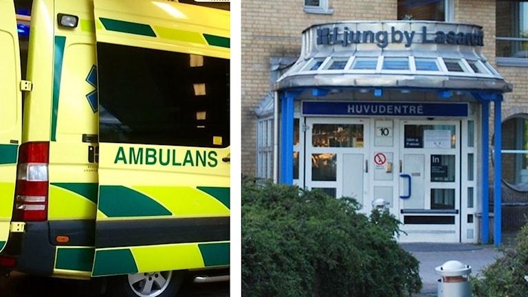 Ambulans och Ljungby lasarett.