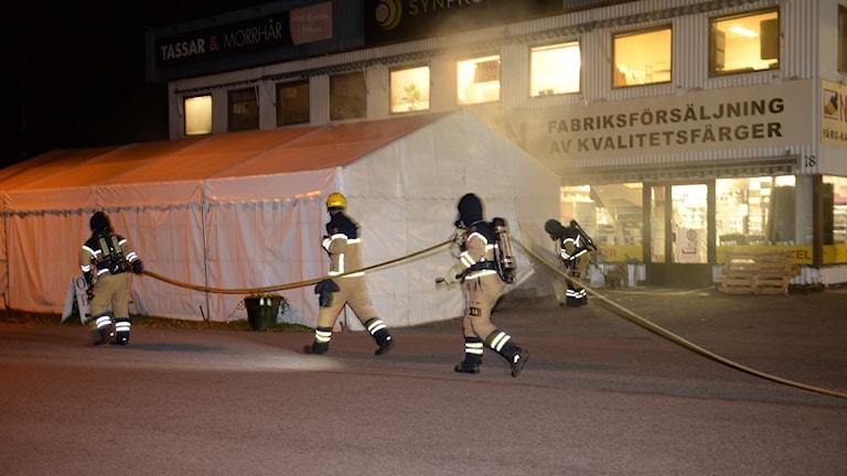 Brand i tält i Växjö