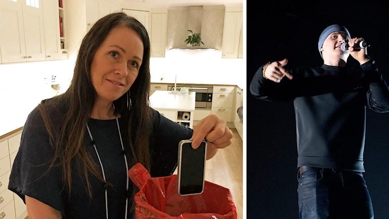 Collage av två bilder där Mona håller en mobiltelefon över en soptunna på den ena och artisten Einar sjunger på den andra.