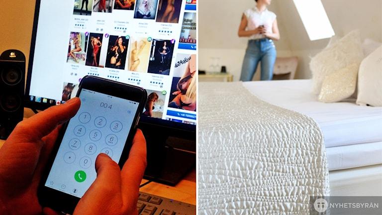 Montage på en som ringer och tittar på en nätsida som erbjuder eskort samt en bild på en anonym kvinna på ett hotellrum.