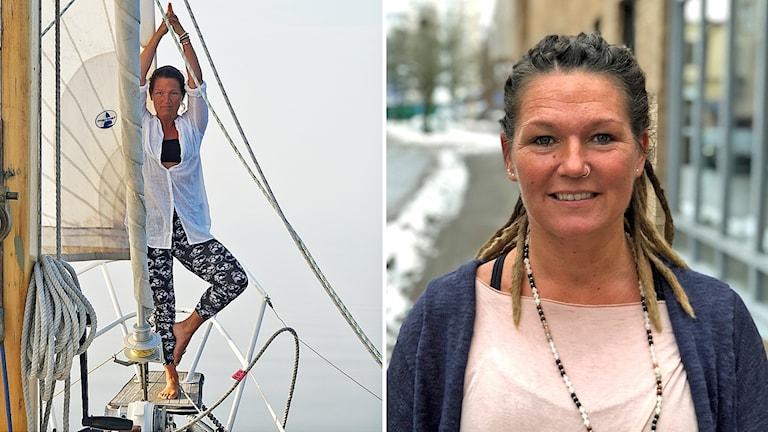 Till vänster Sanna Lohm gör yoga på båten, till vänster ett porträttbild av Sanna Lohm.