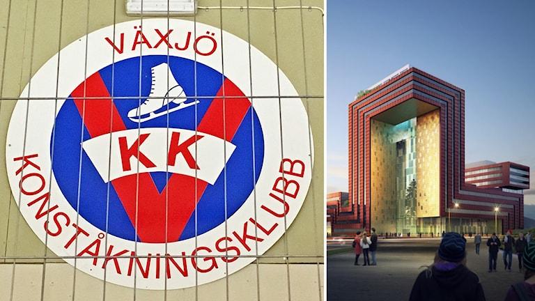 Till vänster klubbmärket Växjö konståkningsklubb med ett galler framför, till höger Icon-bygget