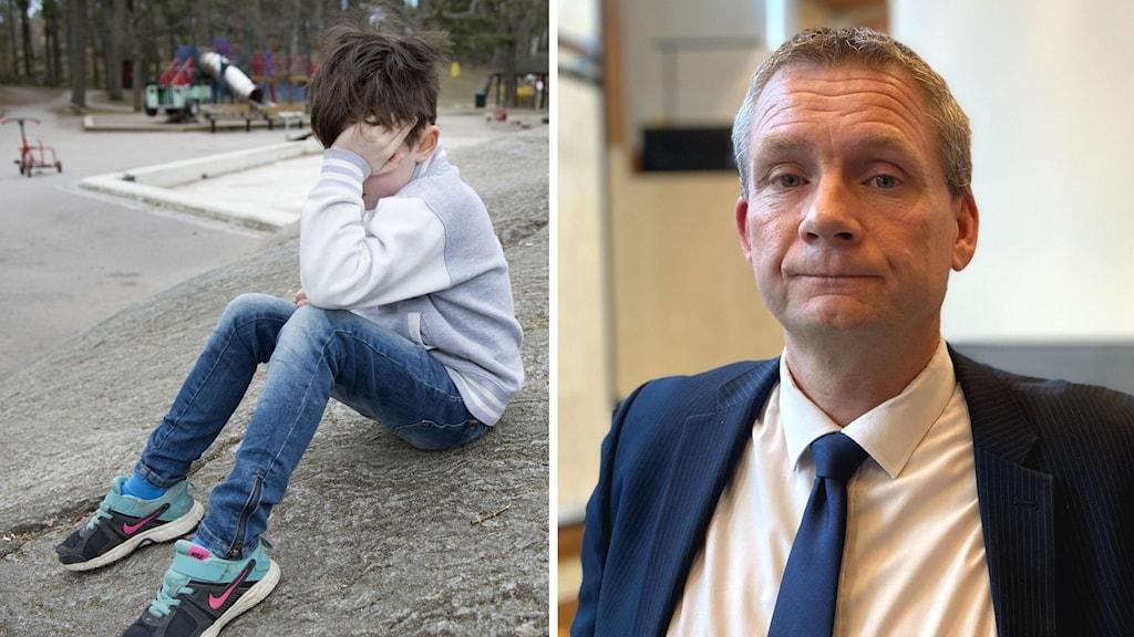 Ett ledset barn sitter ensam och porträtt på Per Sandberg.