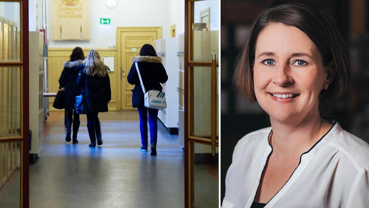 En bild på en skolkorridor och ett foto på  Pernilla Tornéus