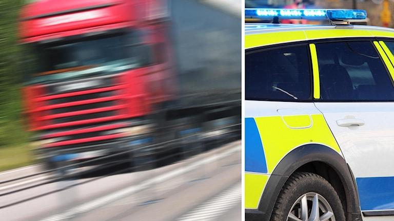 Lastbil och polisbil.