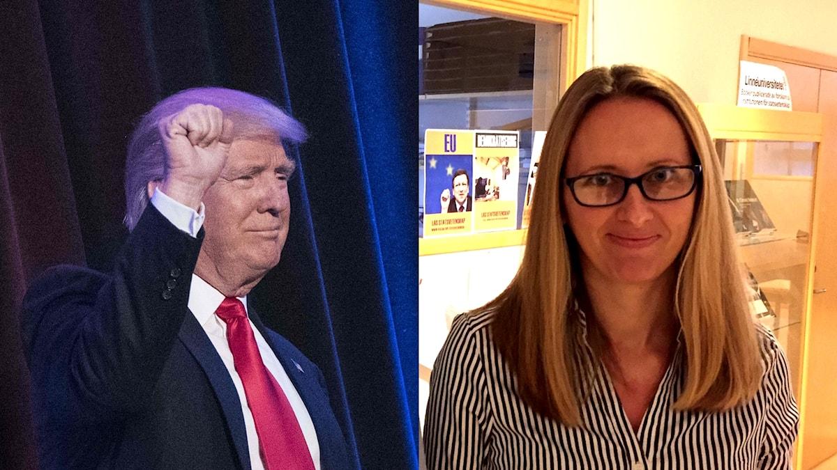 Donald Trump, USA:s president och Emma Ricknell, statsvetare. Montage.