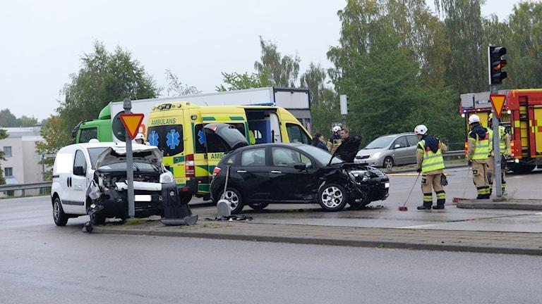 Trafikolyckan vid Teleborgsvägen/Furutåvägen i Växjö.