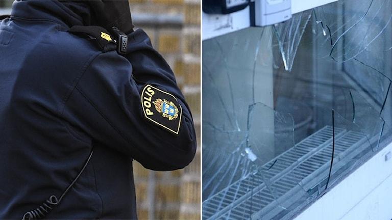Montage av polisman och skadegörelse vid Dalbo
