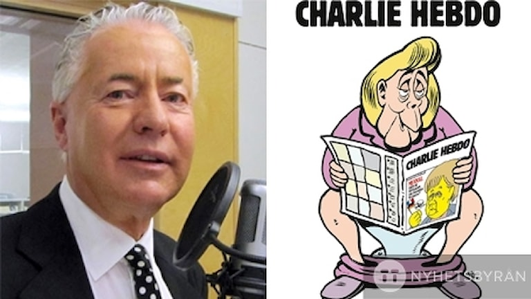 Bo Frank och framsidan på första utgåvan av Charlie Hebdo på tyska.