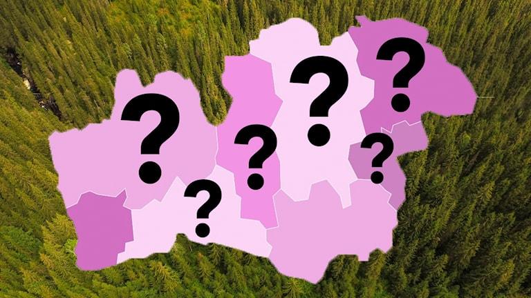 En karta över Kronoberg med sex stycken frågetecken på