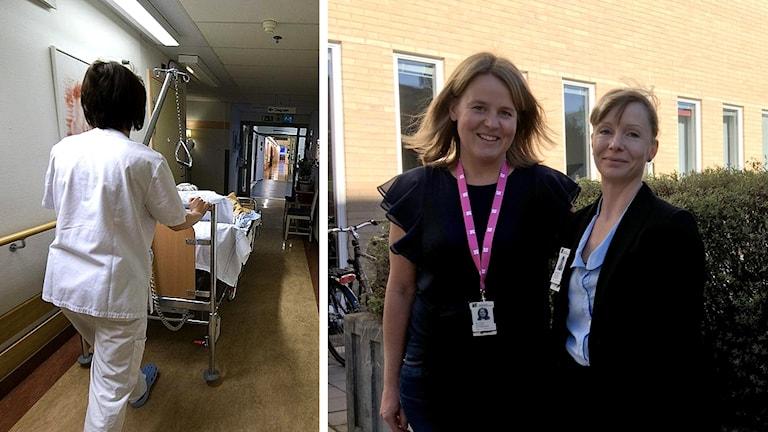 Sjukhuskorridor och två kvinnor från HR-avdelningen inom Region Kronoberg.