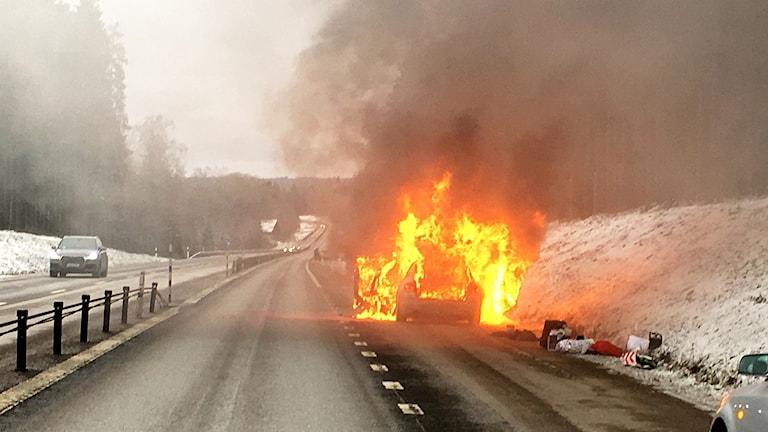 Bilbrand, riksväg 23